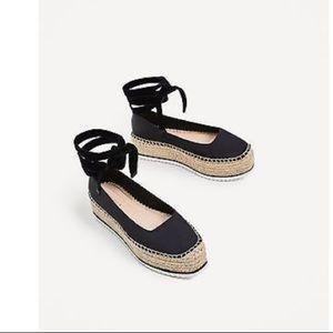 Zara Satin Platform Lace-Up Espadrilles